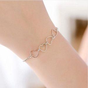Dainty Silver Open Hearts Charm Bracelet